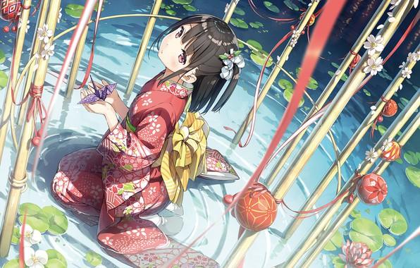 Картинка девушка, юката, Kantai Collection, Флотская коллекция