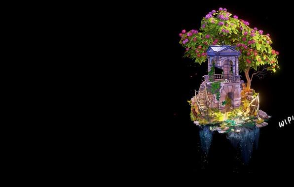 Картинка дерево, водопад, фэнтези, арт, WIP- Step by Step 'Abandoned Building', Anya Jo Elvidge