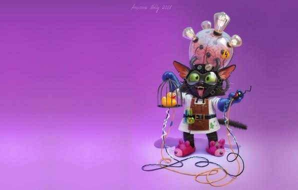 Картинка кот, минимализм, арт, профессор, детская, изобретатель, Nelly Amosova, Mad cat scientist, фантаситка