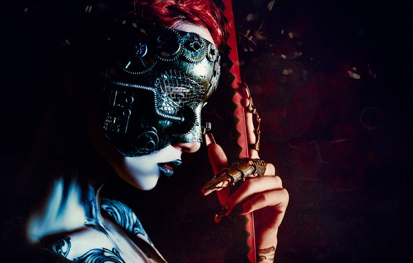 Картинка девушка, лицо, стиль, рука, маска, тату, киберпанк, Руслан Болгов
