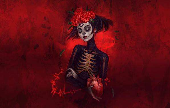 Картинка Девушка, Стиль, Calavera, Illustration, Día de los Muertos, Dia de los Muertos, Sugar Skull, Катрина, …