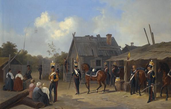 Картинка 1843, SOLDIERS BIVOUACKING IN A VILLAGE, Adolf Ignatevich Ladurner