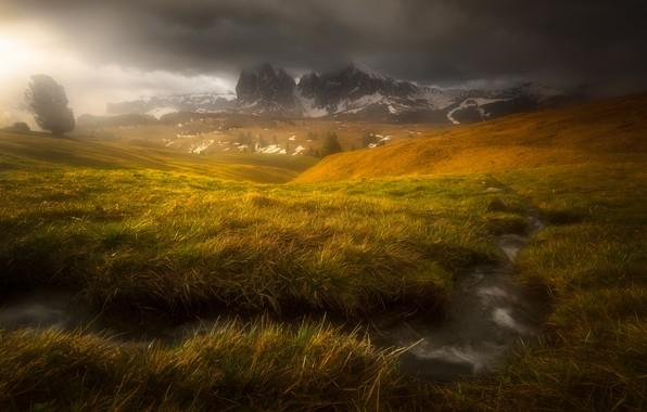 Картинка горы, тучи, ручей, Альпы, дымка