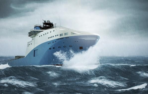 Картинка Море, Дождь, Шторм, Судно, Ливень, Maersk, Maersk Line, Ship, Vessel, AHTS, Mærsk, Anchor Handling Tug …