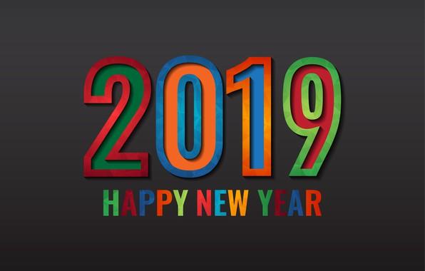 Картинка colorful, Новый Год, цифры, черный фон, black, background, New Year, Happy, 2019