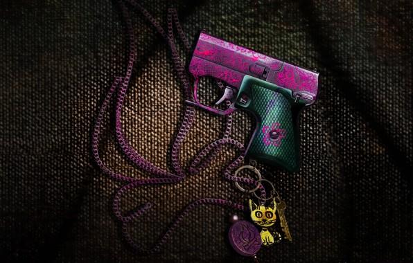 Картинка гроза, игры, пистолет, оружие, розовый, детский, костер, арт, ссср, цепь, ткань, эмо, game, stalker, брелок, …