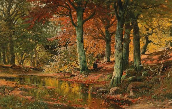 Картинка Alois Arnegger, Austrian painter, австрийский живописец, oil on canvas, Алоис Арнеггер, Woodland Landscape in Autumn, …