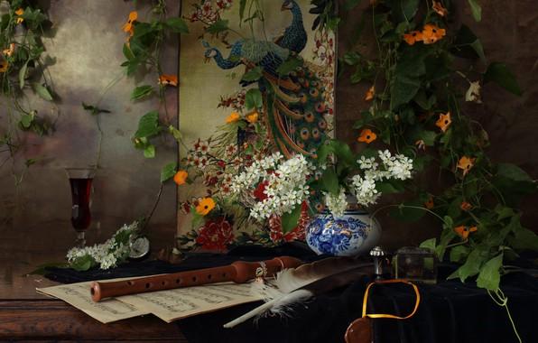 Картинка цветы, ветки, ноты, перо, вино, бокал, натюрморт, дудка, still life, павлины, лиана, чернильница, панно, черёмуха, …