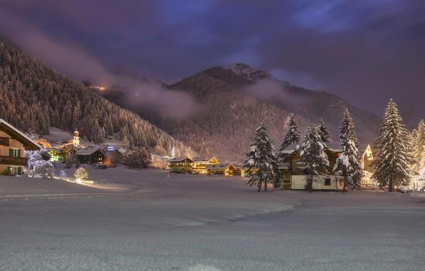 Картинка зима, облака, снег, деревья, пейзаж, горы, природа, дома, вечер, ели, освещение, Италия, леса, коммуна, Канацеи, …