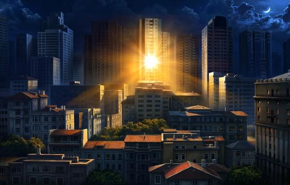 Картинка солнце, город, отражение, утро, арт, Olga Antonenko, Illustration for Philips Hue Go Ilan poster
