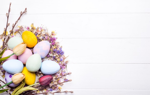 Картинка цветы, яйца, Пасха, happy, wood, flowers, eggs, easter, decoration