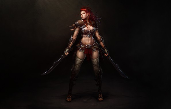 Картинка Girl, Art, Style, Warrior, Illustration, Redhead, Minimalism, Blades, Figure, Character, Daggers, Hyeon Gwan Nam