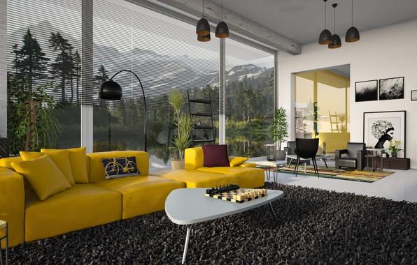 Картинка комната, диван, окна, интерьер, ковёр, подушки, шахматы, кресла, картины, торшер, столик, гостиная, люстры