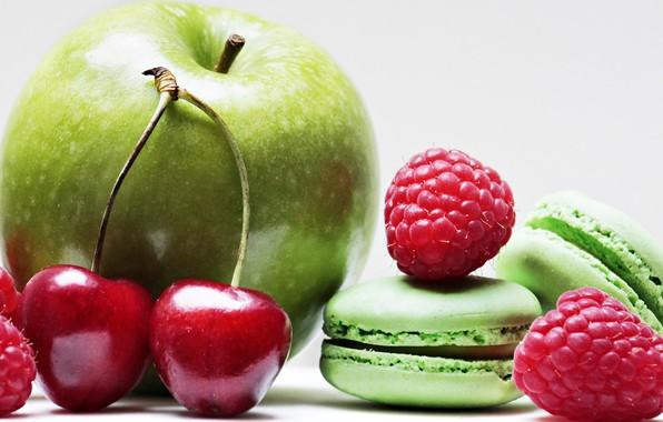 Фото обои вишня, малина, apple, яблоко, macarons