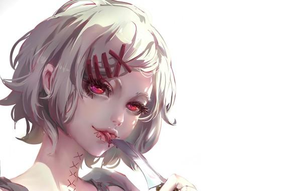 Картинка лезвие, порезы, маньяк, красные глаза, высунул язык, токийский монстр, Tokyo Ghoul, Juuzou Suzuya, капли крови