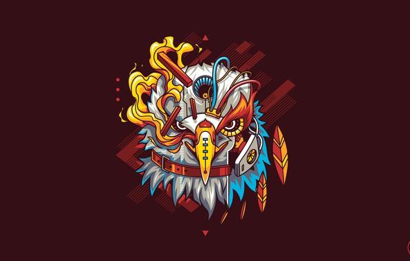 Картинка Eagle, Art, Flame, Robot, Vector, Background, Bird, Illustration, Minimalism, Cyborg, Animal, Drawing, Angga Tantama