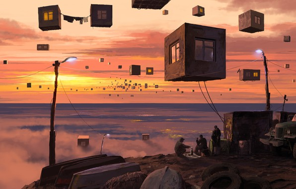 Картинка фантастика, горизонт, арт, вдали, самоизоляция, кубы квартиры, алкаголики