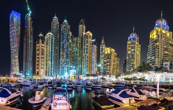 Фото обои ночь, город, небоскреб, панорама, Дубай, Dubai, Panorama