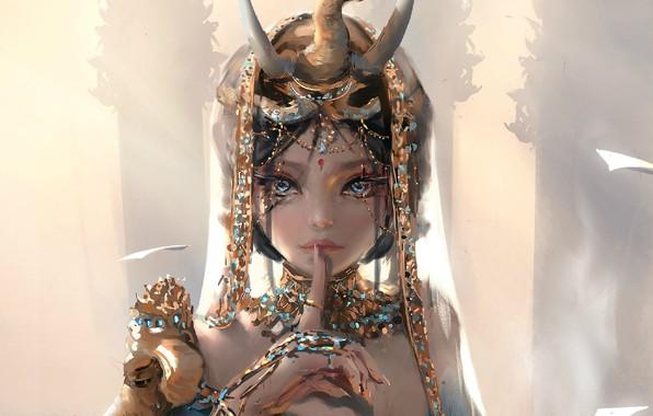 Картинка girl, fantasy, horns, blue eyes, brunette, digital art, artwork, princess, fantasy art, painting art, fantasy …