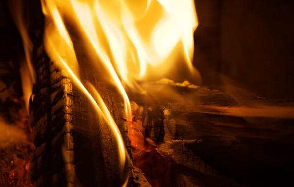 Картинка fire, flame, macro, closeup, firewood, burn