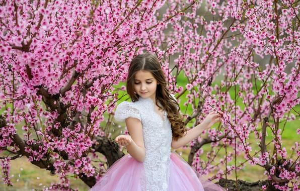 Картинка ветки, поза, весна, платье, девочка, красивая, цветение