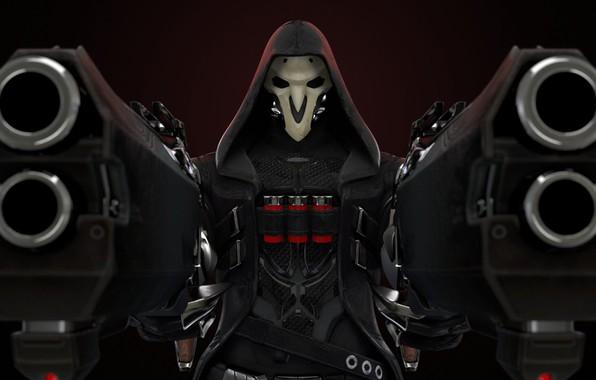 Картинка оружие, игра, маска, герой, game, Blizzard, weapons, hero, mask, жестокость, Reaper, Overwatch, адские дробовики, cruelty, …