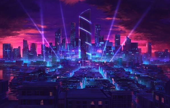 Картинка city, город, будущее, небоскребы, неон, future, neon, skyscrapers, fantasy art, light rays, багровый закат, crimson …