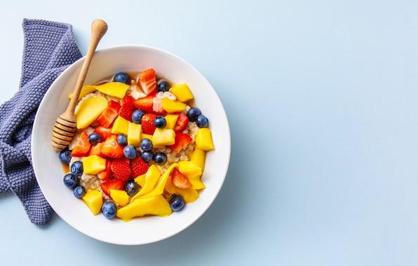 Картинка завтрак, фрукты, овсянка