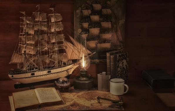 Картинка лампа, карта, парусник, книга, фляга