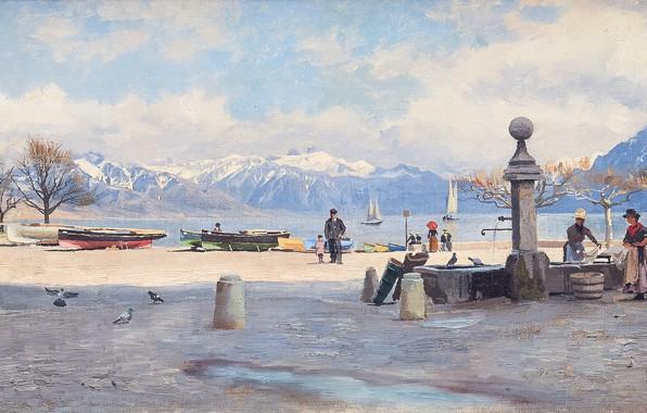 Картинка 1887, датский живописец, Петер Мёрк Мёнстед, Peder Mørk Mønsted, Danish realist painter, oil on canvas, …