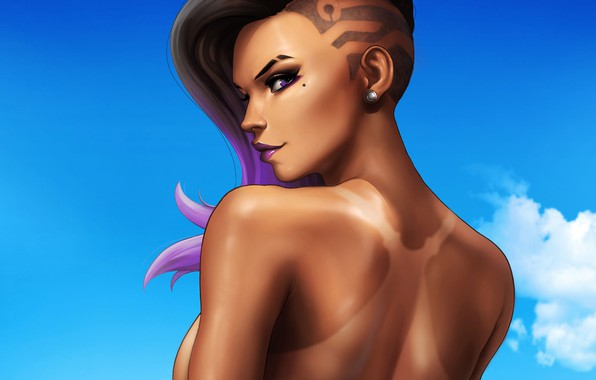 Картинка небо, взгляд, девушка, загар, girl, красивая, Blizzard, sky, beautiful, look, tan, hacker, Overwatch, Sombra, Сомбра, …