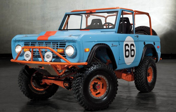 Картинка Ford, Orange, Blue, Off Road, Bronco