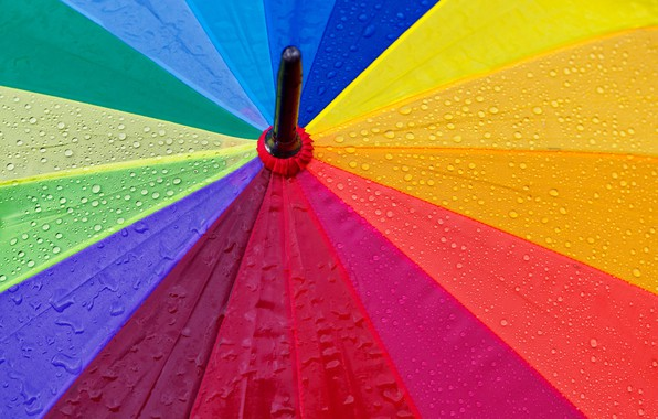 Картинка colorful, rainbow, wet, rain, close-up, umbrella, macro, textures, blur, drops, droplets, 5k hd background