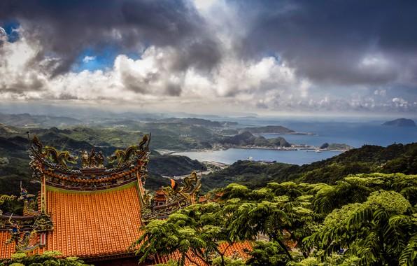 Картинка море, облака, пейзаж, горы, природа, холмы, растительность, крыши, Тайвань