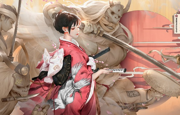 Картинка япония, катана, охрана, рога, кинжал, кимоно, призраки, демоны, рукоять меча, самураи, вполоборота, by Bigball Gao