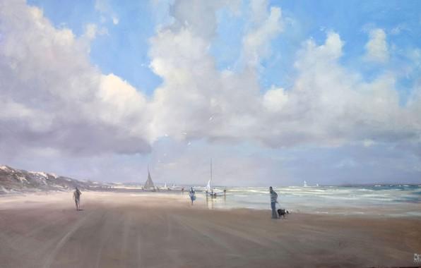 Картинка песок, волны, пляж, облака, птицы, океан, берег, чайки, mike barr
