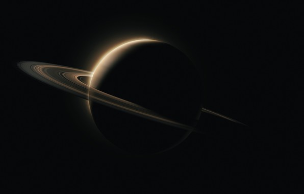 Картинка space, Saturn, minimalism, cosmos, planet, black background, rings, simple background