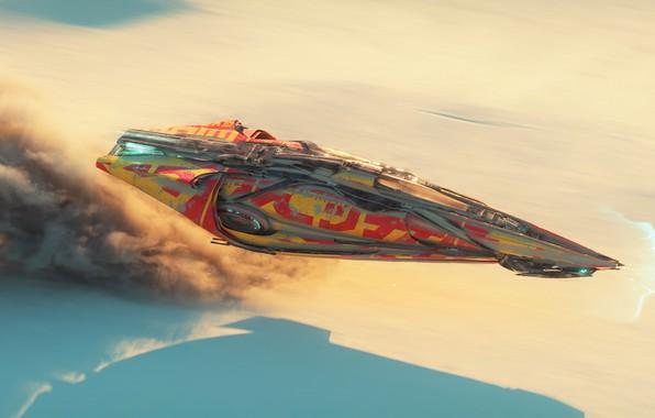 Картинка fantasy, desert, aircraft, science fiction, spaceship, sci-fi, artist, artwork, fantasy art, futuristic, Antoine Collignon