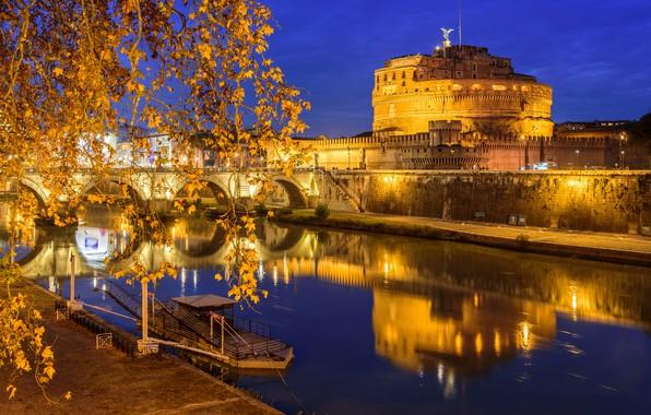 Картинка ночь, огни, отражение, река, Рим, Италия, Тибр, Замок Святого Ангела