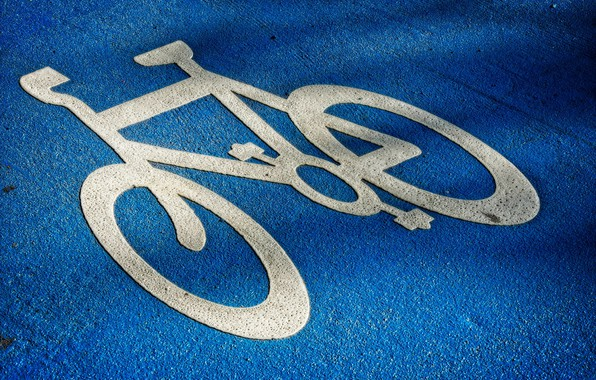 Картинка дорога, велосипед, знак