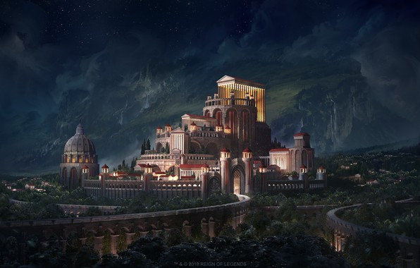 Картинка Ночь, Город, Замок, City, Fantasy, Пейзаж, Архитектура, Арт, Art, Landscape, Night, White, Castle, Illustration, Concept …