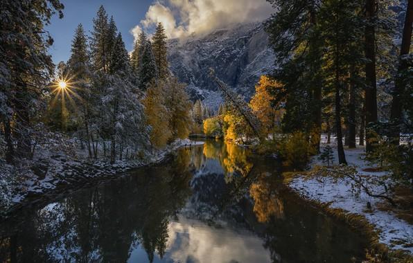Картинка осень, лес, снег, деревья, горы, отражение, река, Калифорния, California, Yosemite Valley, Национальный парк Йосемити, Yosemite …
