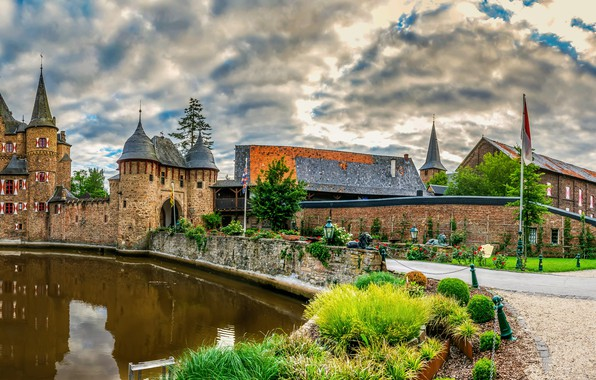 Картинка облака, пруд, замок, Германия, Burg Satzvey, Mechernich