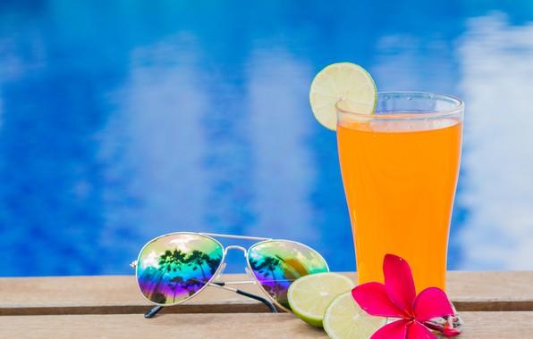 Картинка пляж, лето, отдых, сок, очки, juice, summer, beach, каникулы, orange, paradise, drink, citrus, vacation, tropical, …