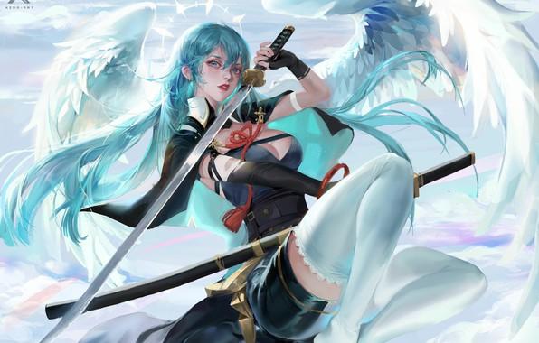 Картинка катана, корсет, накидка, голубые волосы, нимб, клинок, angel, ножны, белые крылья, by Star Academy