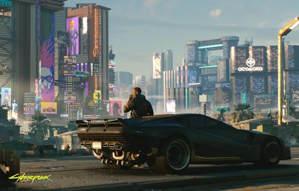 Картинка city, город, будущее, робот, robot, cyberpunk, машинa, cyberpunk 2077, 2077
