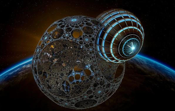 Картинка космос, пространство, планеты, Земля, переход, модели, 3D графика, 3D art, escaping, вторая фаза