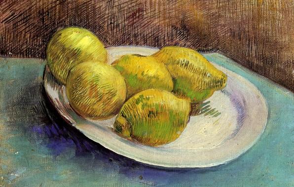 Картинка стол, тарелка, Винсент ван Гог, Still Life with, Lemons on a Plate, 5 лимонов