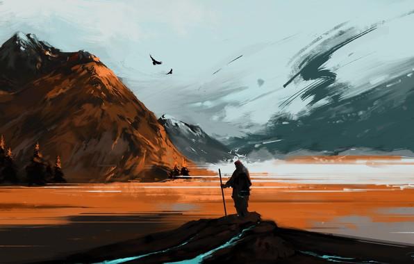 Картинка river, landscape, nature, art, mountains, snow, birds, man, artist, digital art, artwork, hiking, BisBiswas