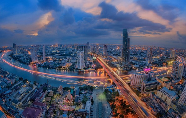 Картинка ночь, город, огни, река, Таиланд, Бангкок, Thailand, Bangkok